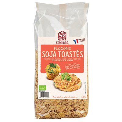 Toasted soy flakes