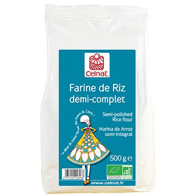 Semi-polished rice flour