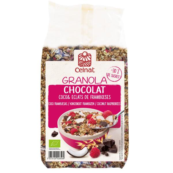 Granola chocolat, coco et éclats de framboises