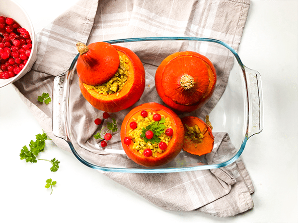 Les recettes de Eve is vegan : Potiron farci champignon/riz