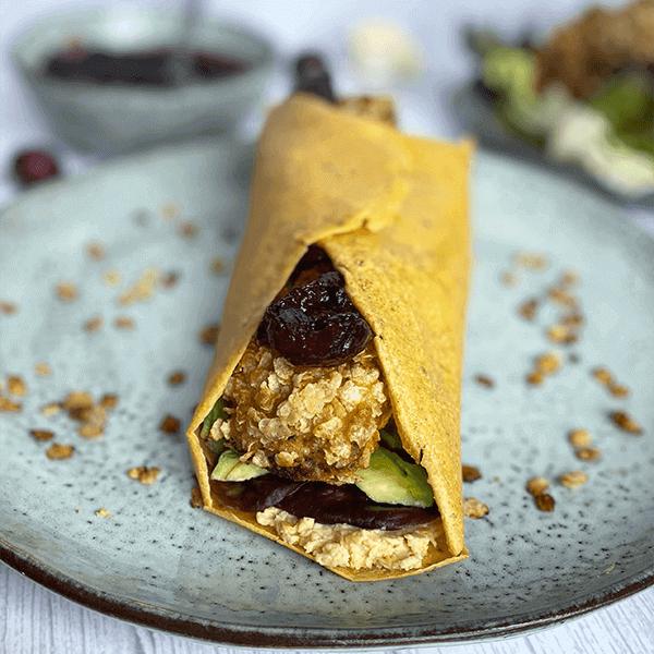 Wraps de pois chiches, Nuggets de Chou-Fleur et Chutney de cerises par Maymayintekitchen